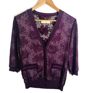 UO Pins And Needles Silk Floral purple Cardigan